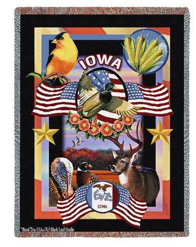 State Of Iowa by Dwight D Kirkland Tapestry Throw