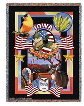 State Of Iowa Tapestry Throw Blanket with Fringe by Artisan Textile Mill Pure Country Weavers Cotton USA 72x54 Tapestry Throw