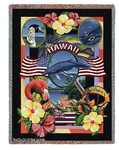 State Of Hawaii by Dwight D Kirkland Tapestry Throw