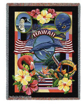 State Of Hawaii Tapestry Throw Blanket with Fringe by Artisan Textile Mill Pure Country Weavers Cotton USA 72x54 Tapestry Throw