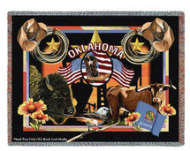 State of Oklahoma - Dwight D Kirkland - Cotton Woven Blanket Throw - Made in the USA (72x54) Tapestry Throw