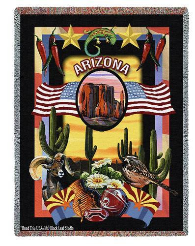 State Of Arizona Tapestry Throw Blanket with Fringe by Artisan Textile Mill Pure Country Weavers Cotton USA 72x54 Tapestry Throw