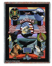 State Of Alaska Tapestry Throw Blanket with Fringe by Artisan Textile Mill Pure Country Weavers Cotton USA 72x54 Tapestry Throw