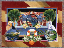 State Of Florida Tapestry Throw Blanket with Fringe by Artisan Textile Mill Pure Country Weavers Cotton USA 72x54 Tapestry Throw
