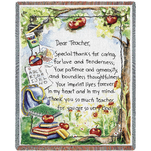 Pure Country Weavers | Dear Teacher Tapestry Throw Blanket with Fringe Cotton USA 72x54 Tapestry Throw