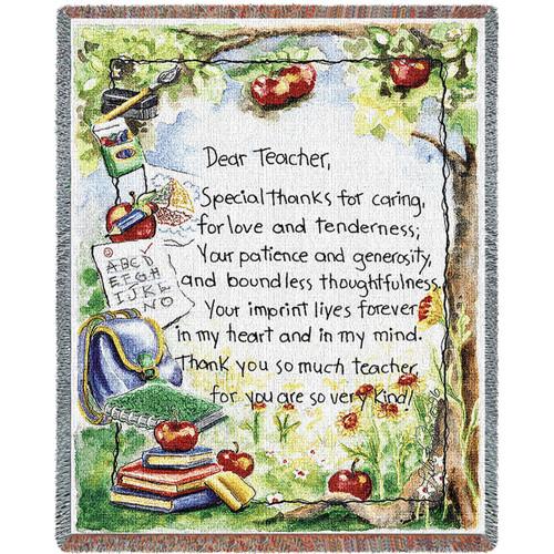 Dear Teacher Tapestry Throw