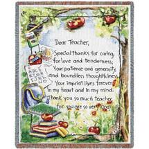 Dear Teacher Letter From Student - Tapestry Throw