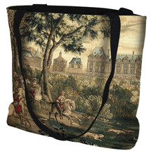 Le Chateau de Monceau Hand Finished Large Woven Tote or Shoulder Bag with Magnetic Clasp 100% Cotton Double Sided Made in USA by Artisan Textile Mill Pure Country Weavers Tote Bag