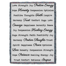 Positive Word Hug Comfort Tapestry Throw