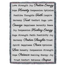 Positive Word Hug - Light Grey - Tapestry Throw