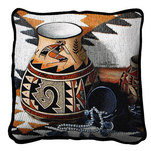 Kokopelli Pot Textured Hand Finished Elegant Woven Throw Pillow Cover 100% Cotton Made in the USA Size 17x17 Pillow