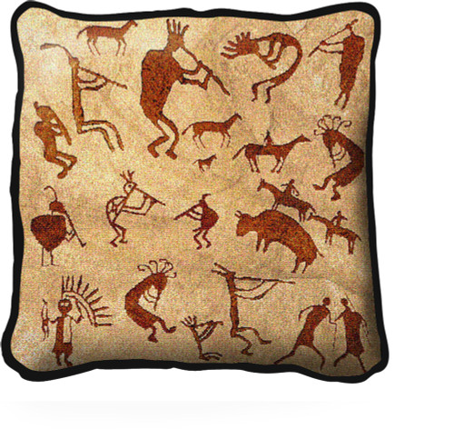 Kokopelli Petroglyphs Textured Hand Finished Elegant Woven Throw Pillow Cover 100% Cotton Made in the USA Size 17x17 Pillow