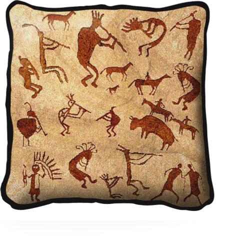 Kokopelli Petroglyphs - Southwest Cave Rock Art - Pillow