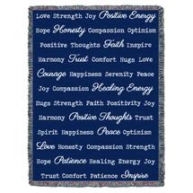 Positive Word Hug - Dark Blue - Tapestry Throw