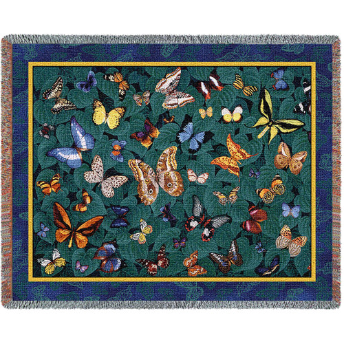 Pure Country Weavers - Butterfly Dance Woven Large Soft Comforting Throw Blanket Cotton With Artistic Textured Design Cotton USA 72x54 Tapestry Throw
