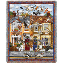 Raining Cats and Dogs - Gale Pitt - Cotton Woven Blanket Throw - Made in the USA (72x54) Tapestry Throw