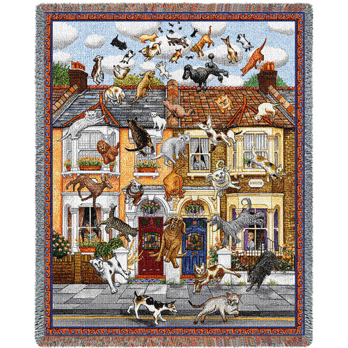 Raining Cats and Dogs Woven Blanket Large Soft Comforting Throw 100% Cotton Made in the USA 72x54 Tapestry Throw