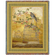 Pure Country Weavers - Oiseav Bird Cage Cerise II Woven Large Soft Comforting Throw Blanket Cotton With Artistic Textured Design Cotton USA 72x54 Tapestry Throw