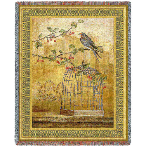 Oiseav Bird Cage Cerise II Woven Large Soft Comforting Throw Blanket Cotton With Artistic Textured Design Cotton USA 72x54 Tapestry Throw