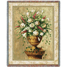 Pure Country Weavers - Spring Flowers Woven Large Soft Comforting Throw Blanket With Artistic Textured Design Cotton USA 72x54 Tapestry Throw