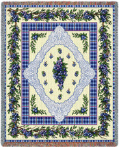 Pure Country Weavers - Blueberry Lace Woven Large Soft Comforting Throw Blanket With Artistic Textured Design Cotton USA 72x54 Tapestry Throw
