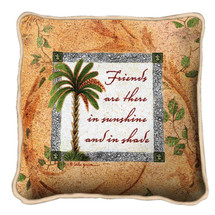 Friends In Sunshine Textured Hand Finished Elegant Woven Throw Pillow Cover 100% Cotton Made in the USA Size 17x17 Pillow