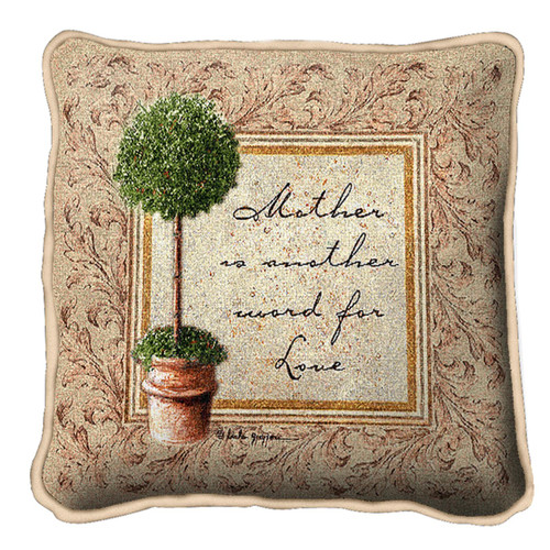Mother is Love Textured Hand Finished Elegant Woven Throw Pillow Cover 100% Cotton Made in the USA Size 17x17 Pillow