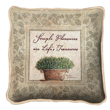 Life's Treasures Textured Hand Finished Elegant Woven Throw Pillow Cover 100% Cotton Made in the USA Size 17x17 Pillow