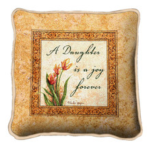 Daughters Forever Textured Hand Finished Elegant Woven Throw Pillow Cover 100% Cotton Made in the USA Size 17x17 Pillow