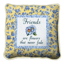 Friends Never Fade Textured Hand Finished Elegant Woven Throw Pillow Cover 100% Cotton Made in the USA Size 17x17 Pillow