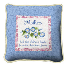 Mothers Forever Textured Hand Finished Elegant Woven Throw Pillow Cover 100% Cotton Made in the USA Size 17x17 Pillow