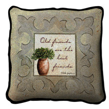Old Friends Neutral Textured Hand Finished Elegant Woven Throw Pillow Cover 100% Cotton Made in the USA Size 17x17 Pillow