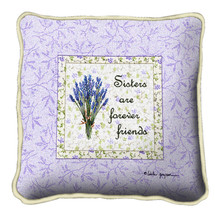 Sisters Forever Textured Hand Finished Elegant Woven Throw Pillow Cover 100% Cotton Made in the USA Size 17x17 Pillow