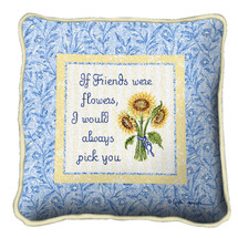 Friends With Flowers Textured Hand Finished Elegant Woven Throw Pillow Cover 100% Cotton Made in the USA Size 17x17 Pillow