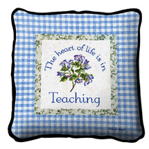 Heart In Teaching Textured Hand Finished Elegant Woven Throw Pillow Cover 100% Cotton Made in the USA Size 17x17 Pillow