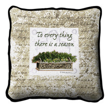 There Is A Season Textured Hand Finished Elegant Woven Throw Pillow Cover 100% Cotton Made in the USA Size 17x17 Pillow