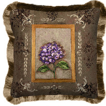 Hydrangea Textured Hand Finished Elegant Woven Throw Pillow Cover 100% Cotton Made in the USA Size 17x17 Pillow