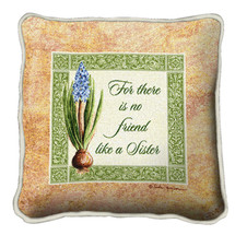 No Friend Like a Sister Textured Hand Finished Elegant Woven Throw Pillow Cover 100% Cotton Made in the USA Size 17x17 Pillow