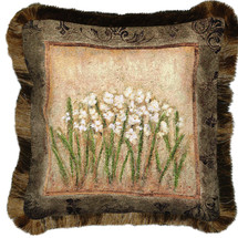 Narcissus Textured Hand Finished Elegant Woven Throw Pillow Cover 100% Cotton Made in the USA Size 17x17 Pillow