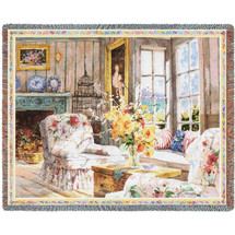 Pure Country Weavers - Sun Filled Chintz Woven Large Soft Comforting Throw Blanket With Artistic Textured Design Cotton USA 72x54 Tapestry Throw