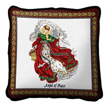 Angel Of Peace Textured Hand Finished Elegant Woven Throw Pillow Cover 100% Cotton Made in the USA Size 17x17 Pillow