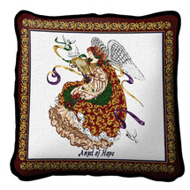 Angel Of Hope Textured Hand Finished Elegant Woven Throw Pillow Cover 100% Cotton Made in the USA Size 17x17 Pillow