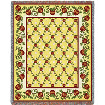 Pure Country Weavers - Apple Season Woven Large Soft Comforting Throw Blanket With Artistic Textured Design Cotton USA 72x54 Tapestry Throw