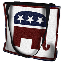 Republican Logo Hand Finished Large Woven Tote or Shoulder Bag with Magnetic Clasp 100% Cotton Double Sided Made in USA by Artisan Textile Mill Pure Country Weavers Tote Bag