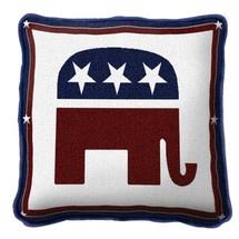 Republican Logo Textured Hand Finished Elegant Woven Throw Pillow Cover 100% Cotton Made in the USA Size 17x17 Pillow