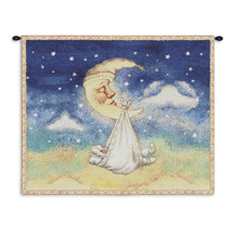 Nighty Night | Woven Tapestry Wall Art Hanging | Celestial Crescent Moon Carrying Baby to Bed | 100% Cotton USA Size 33x26 Wall Tapestry