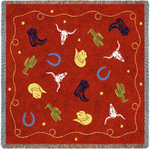 Western Decor - Cowboy - Lap Square Cotton Woven Blanket Throw - Made in the USA (54x54) Lap Square