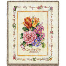Pure Country Weavers - Blooming Bouquet Flowers Woven Large Soft Comforting Throw Blanket With Artistic Textured Design Cotton USA 72x54 Tapestry Throw