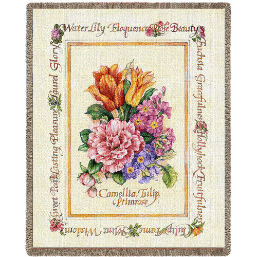 Blooming Bouquet Flowers Woven Large Soft Comforting Throw Blanket With Artistic Textured Design Cotton USA 72x54 Tapestry Throw
