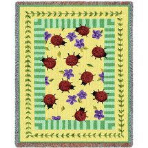 Pure Country Weavers - Lady Bug Garden Woven Large Soft Comforting Throw Blanket With Artistic Textured Design Cotton USA 72x54 Tapestry Throw